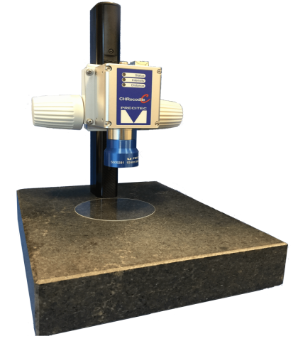 Downward looking custom stand for CHRocodile measuring the thickness of a glass wafer.